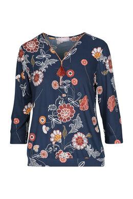 T-shirt met bloemenprint, Marineblauw