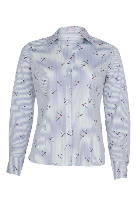 Katoenen hemd met vogelprint - Blauw