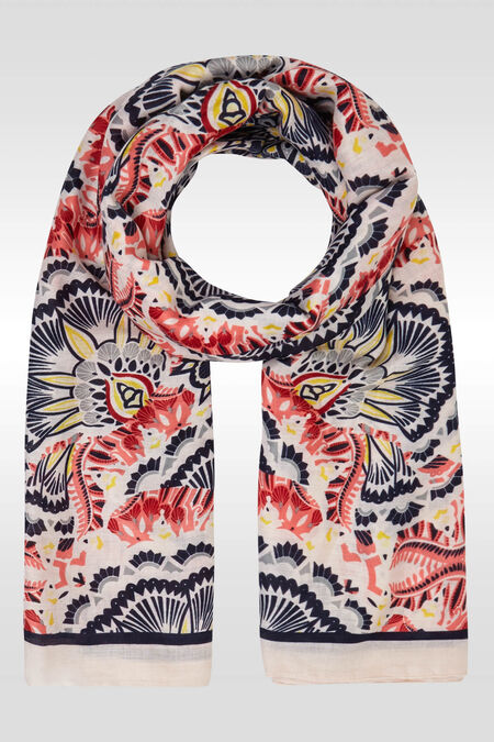 Bedrukte foulard - Marineblauw