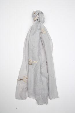 Foulard uni avec broderie de feuilles, Gris-clair