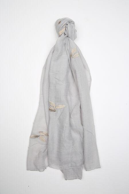 Foulard uni avec broderie de feuilles - Gris-clair