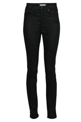 Gecoate broek, hoge taille, Zwart