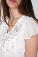 T-shirt met strassteentjes en studs, Ecru