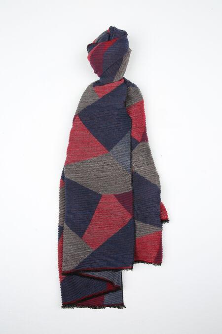 Écharpe imprimé géométrique - Rouge
