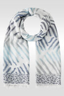 Foulard imprimé zèbre et léopard, Bleu
