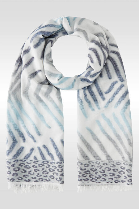 Foulard imprimé zèbre et léopard - Bleu