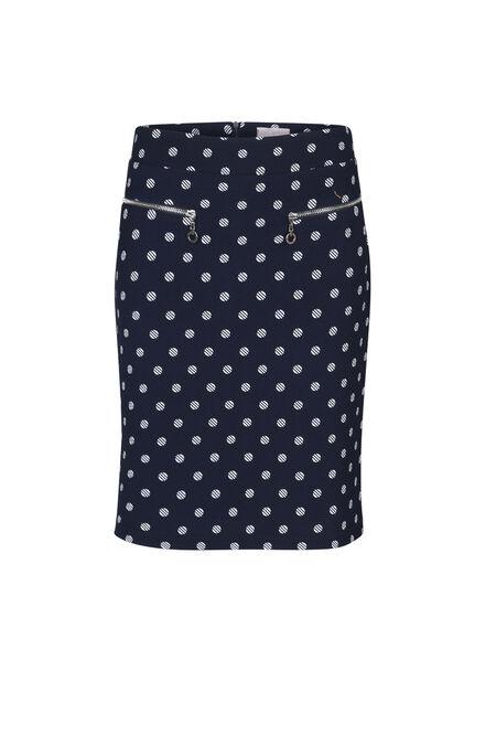 Rechte rok met stippen - Marineblauw