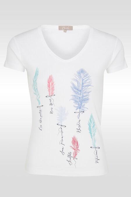 Katoenen T-shirt met pluimenprint - Wit
