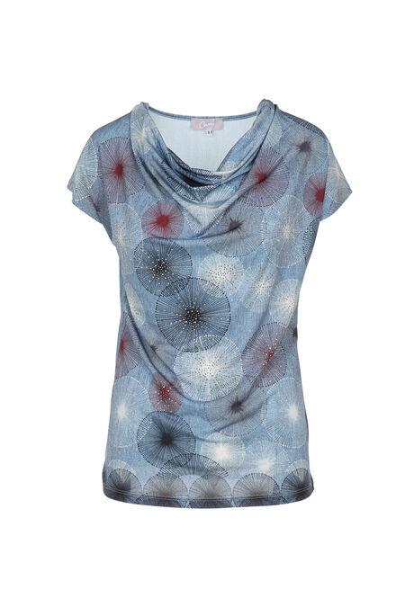 T-shirt met watervalkraag en print - Leisteen