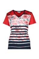 Katoenen T-shirt met bloemen en strepen, Rood