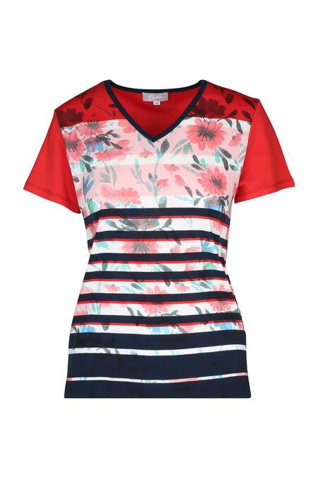 Katoenen T-shirt met bloemen en strepen - Rood