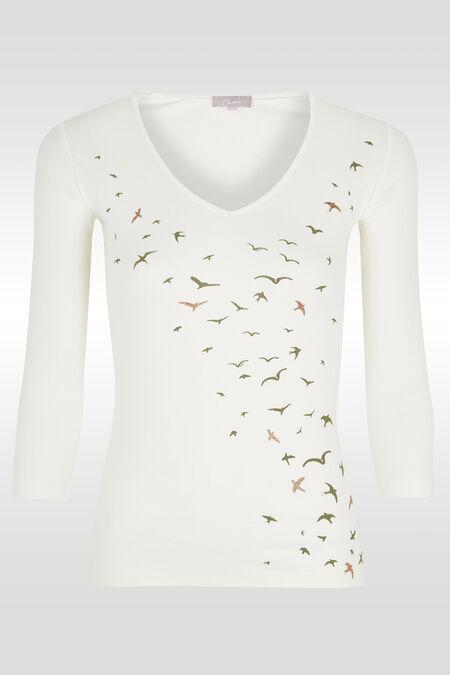 T-shirt print/lovertjes vliegende vogels - Ecru