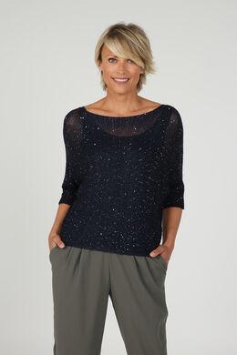 Trui in fijne tricot met vleermuismouwen, Marineblauw