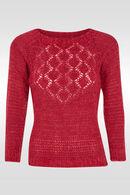 Zachte trui in opengewerkt tricot, Fushia