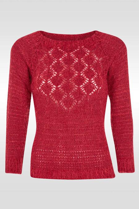 Zachte trui in opengewerkt tricot - Fushia