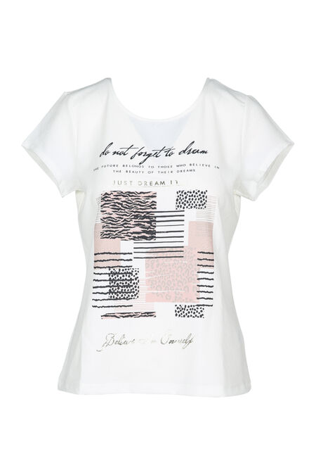 Bedrukt T-shirt in twee stoffen - Ecru