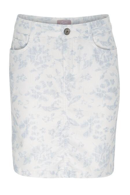 Jupe en coton imprimé fleuri - Bleu