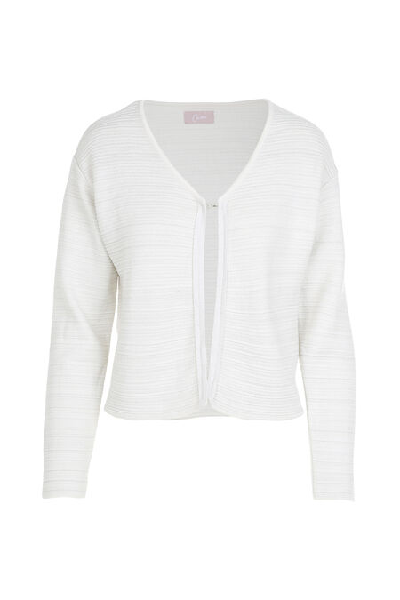 Cardigan in glanzend, gestreept tricot - Wit