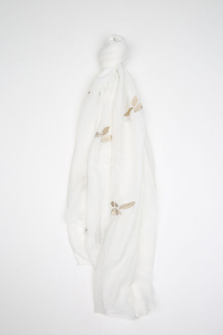 Foulard uni avec broderie de feuilles - Blanc