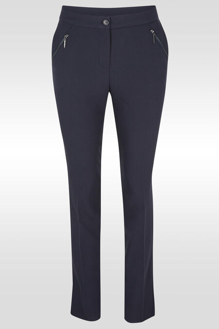 Geklede broek met schuine rits - Marineblauw
