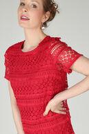 Robe en dentelle avec franges, Rouge