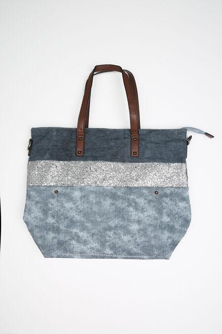 Grand sac effet jeans et paillettes - Denim