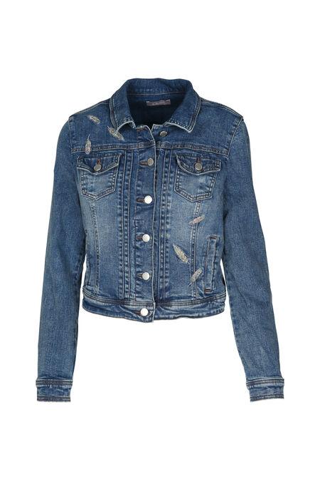 Kort jeansjasje met borduurwerk - Denim