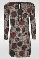 Jurk in bedrukt, warm tricot., Lichtgrijs