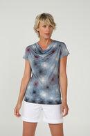 T-shirt met watervalkraag en print, Leisteen