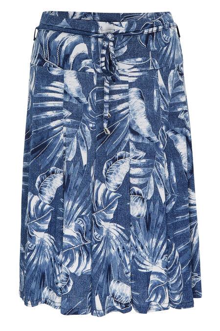Rok bedrukt met palmen - Marineblauw