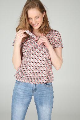 T-shirt manches courtes imprimé dessins minimalistes, Corail