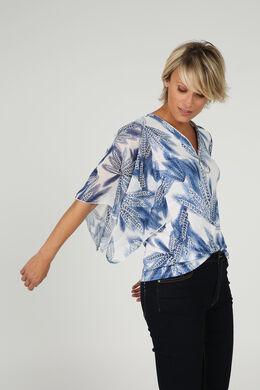 T-shirt met capemouwtjes, Blauw