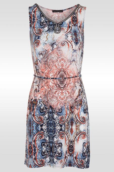 Rechte jurk met strashals - Lichtblauw