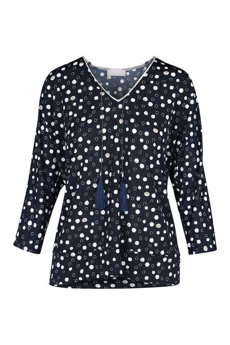 Bedrukt T-shirt in koel tricot - Marineblauw