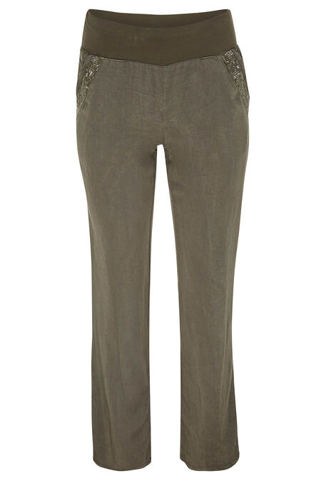 Broek in tencel - Kaki