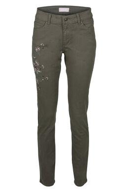 Slim broek met borduurwerk, Kaki