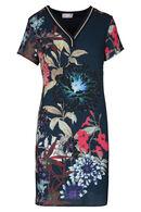 Een fleurige jurk met een elastische halsboord., Marineblauw