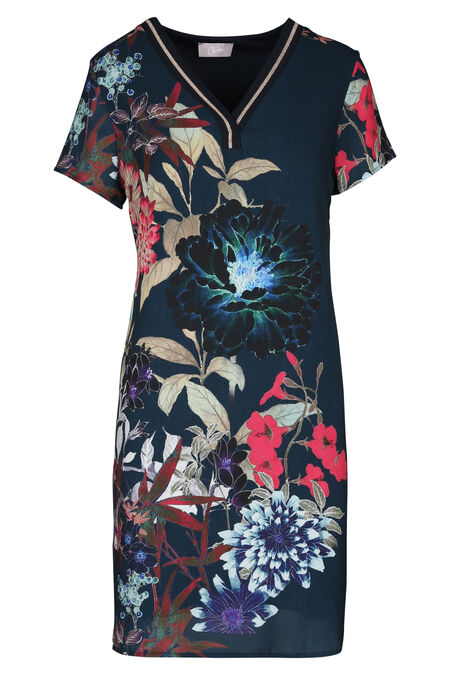Een fleurige jurk met een elastische halsboord. - Marineblauw