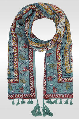 Bedrukte foulard met pompons, Multicolor