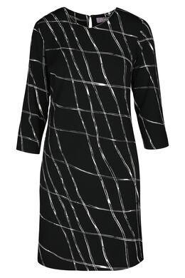 Jurk in bedrukt tricot, Zwart/Ecru