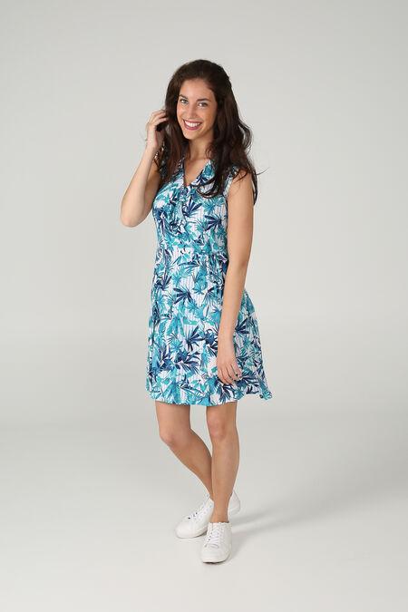 Robe imprimé lignes et feuilles - Turquoise
