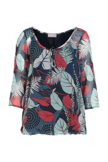 blouse en voile imprimé - Framboise