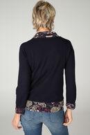 2-in-1 trui met bloeseffect, Marineblauw