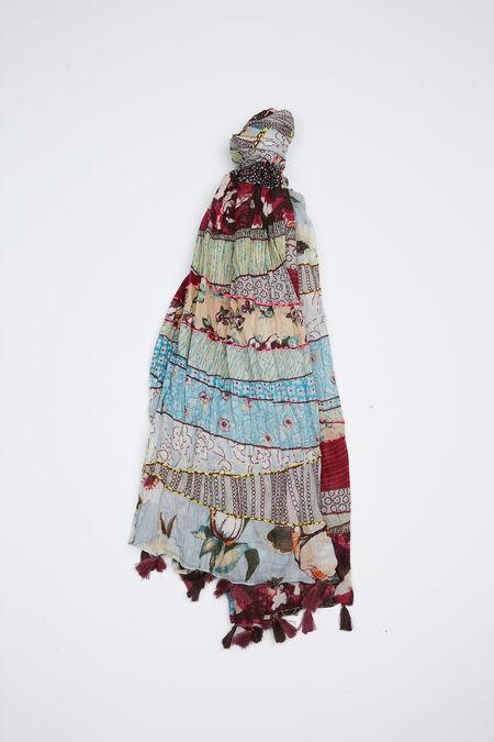 Foulard patchs imprimés coton - multicolor