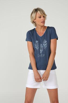T-shirt met print van 3 pluimen, Leisteen