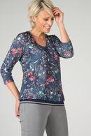 T-shirt met bloemenprint, Blauw