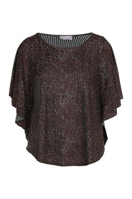 T-shirt met cape-effect in lurextricot, Wijnrood