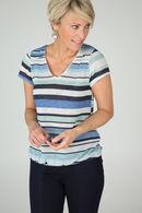 Gestreept T-shirt met lurex, Appelblauwzeegroen