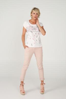 T-shirt met lovertjes, Ecru