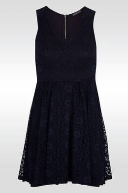 Uitlopende jurk in guipurekant, Marineblauw
